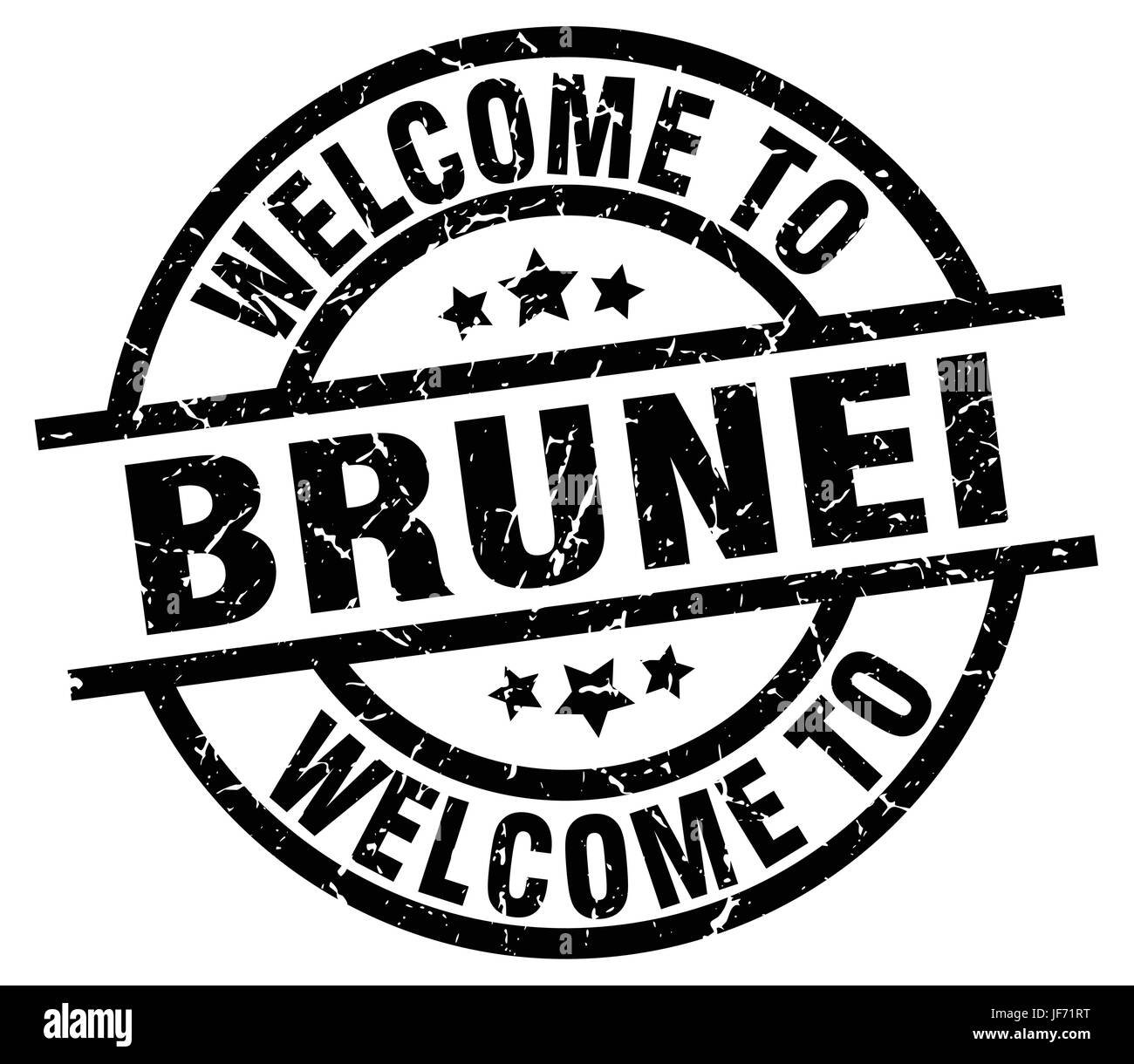 welcome to Brunei black stamp - Stock Image
