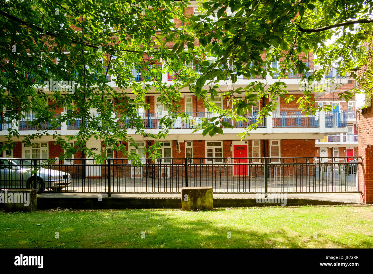 Now with many owner occupied flats, St Olaves estate is an example of a Southwark council estate in a prime London - Stock Image