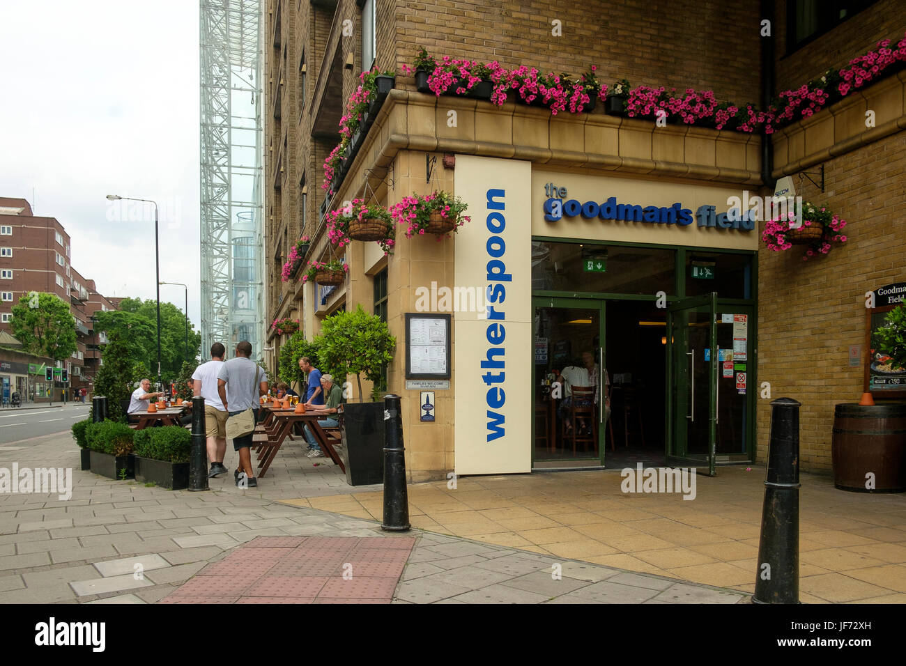 Wetherspoon's Pub The Goodman's Field at Aldgate, City of London - Stock Image