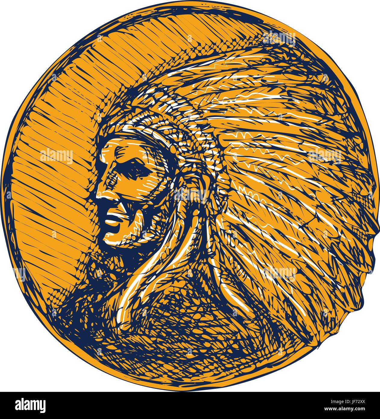 Native American Indian Chief Headdress Drawing - Stock Image