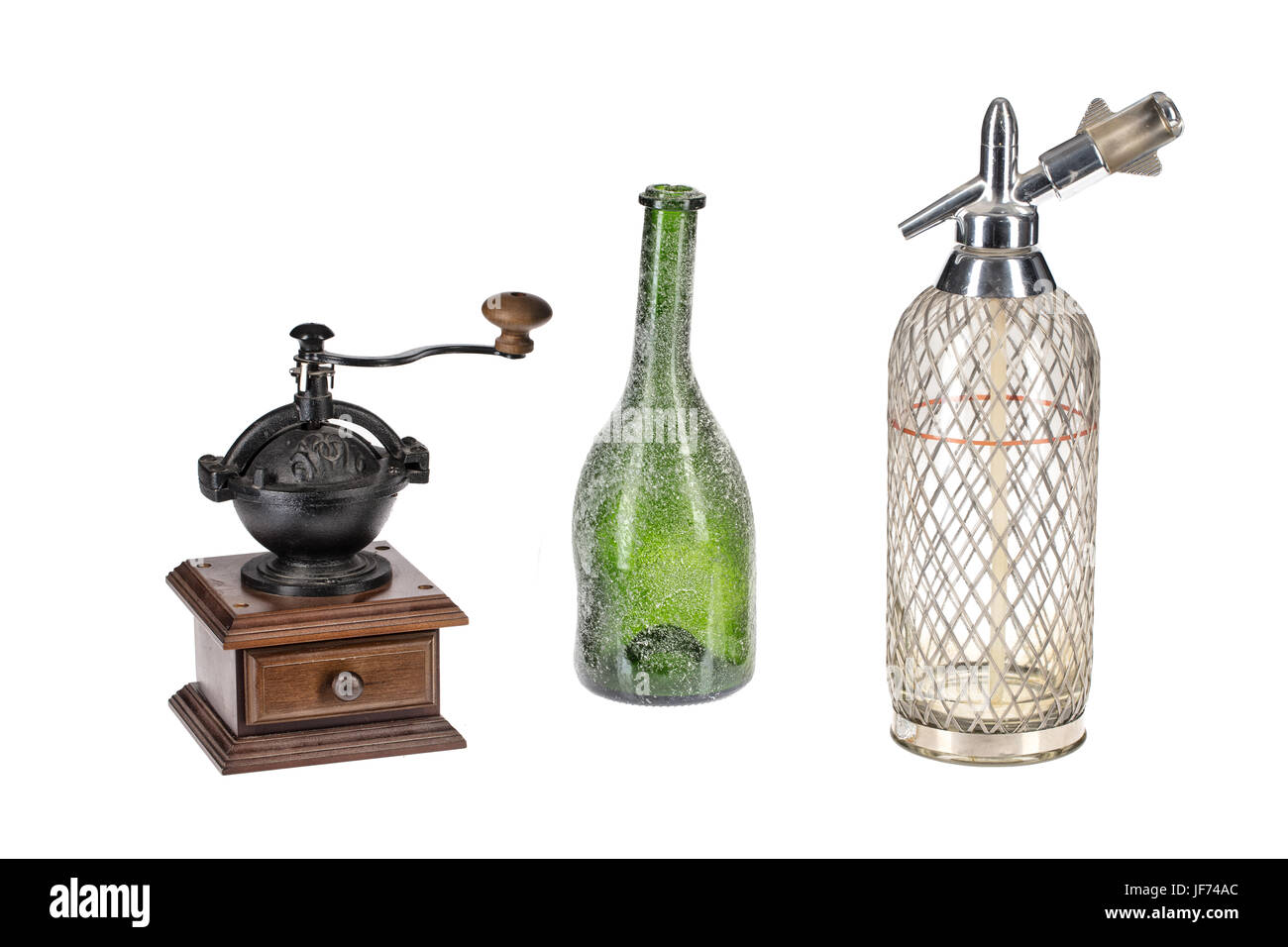 Coffee Mill, Green Bottle And Glass Siphon - Stock Image