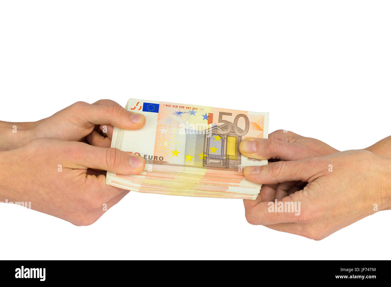 Hands pulling at stack of fifty euro notes - Stock Image