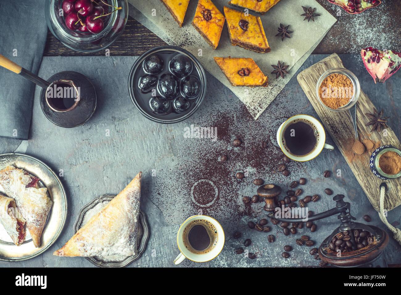 Concept of oriental dessert horizontal - Stock Image