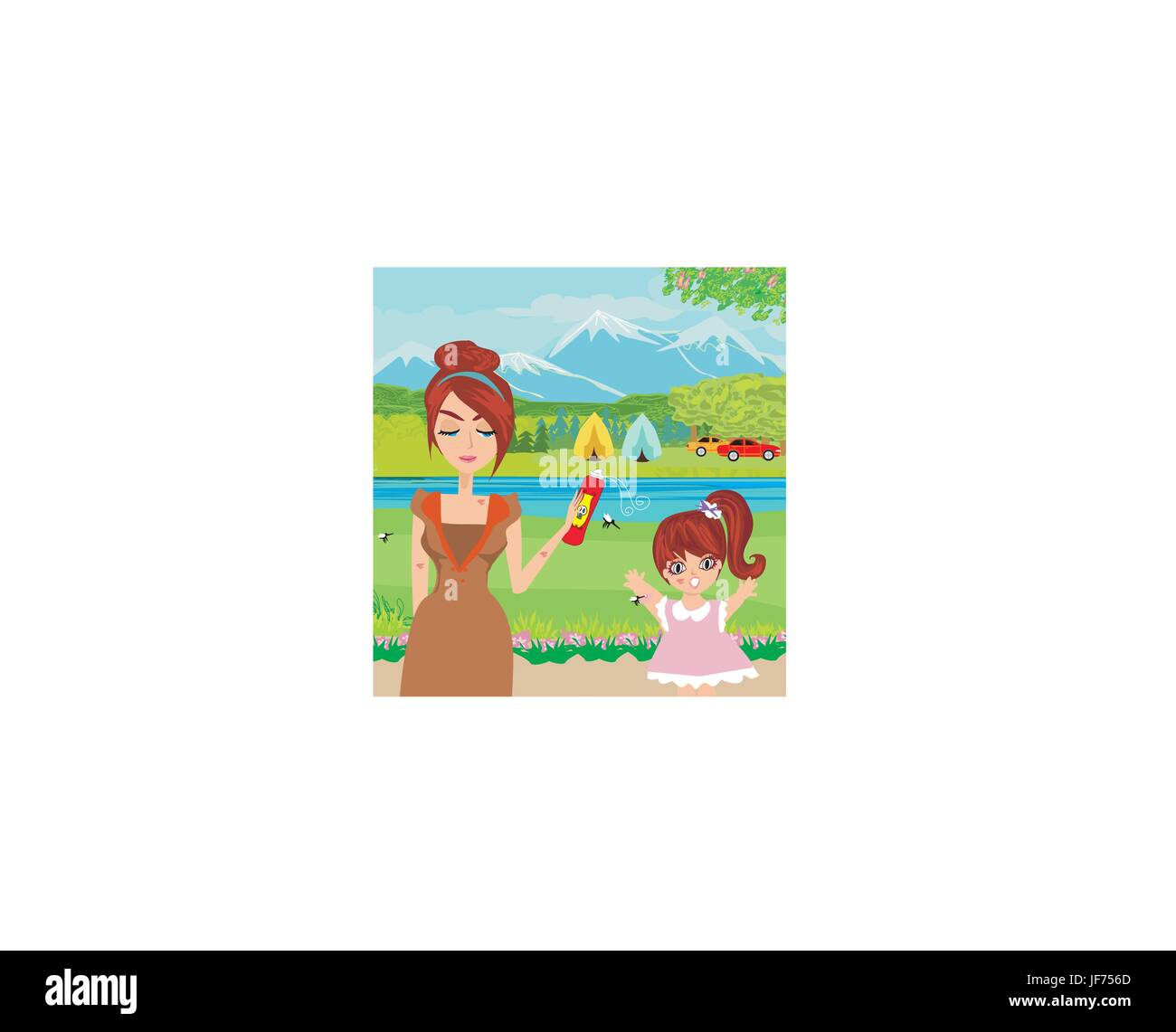 woman, female, insect, tourism, summer, summerly, european, caucasian, spring, - Stock Vector