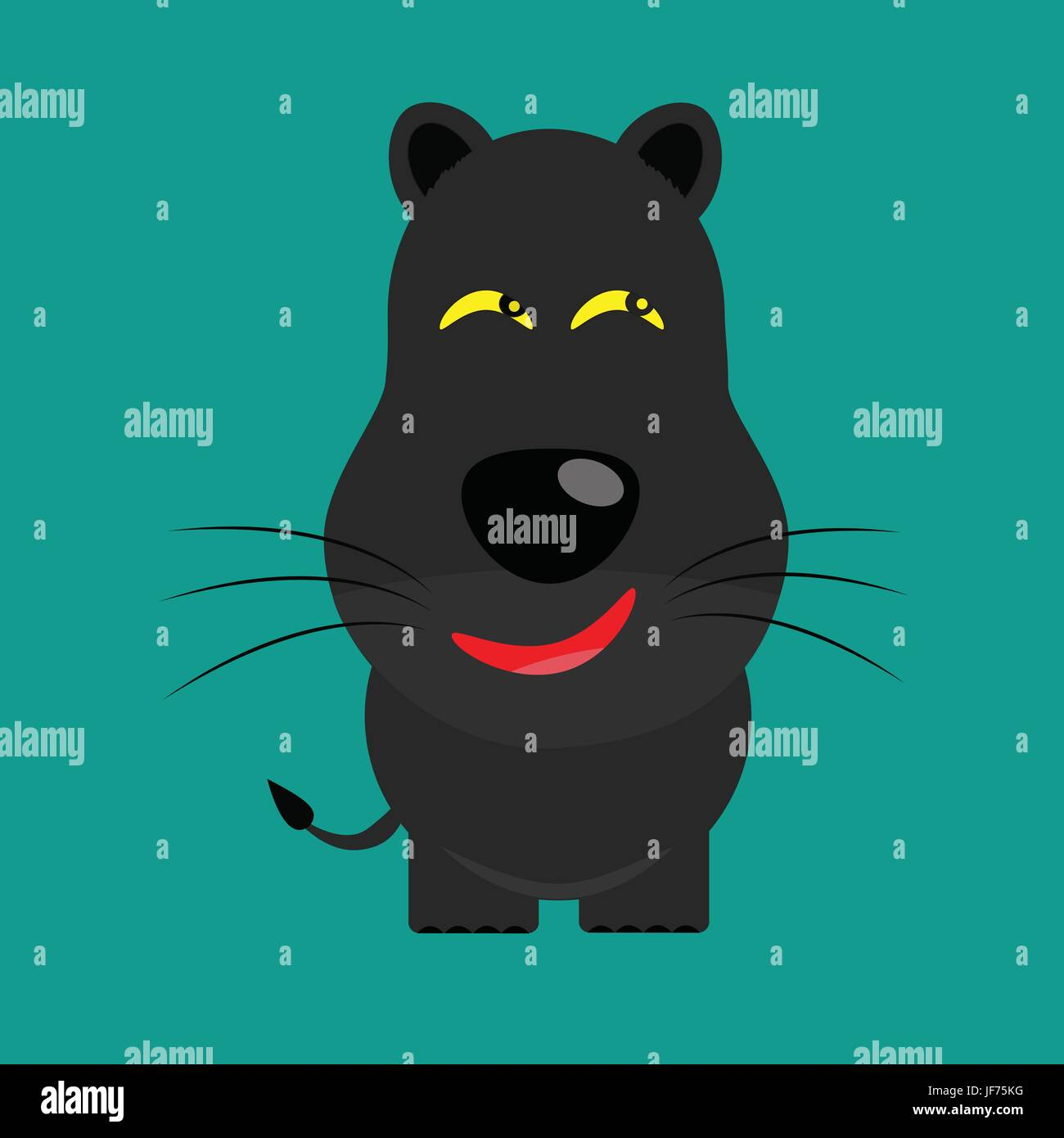 tricky black leopard gartoon character - Stock Image