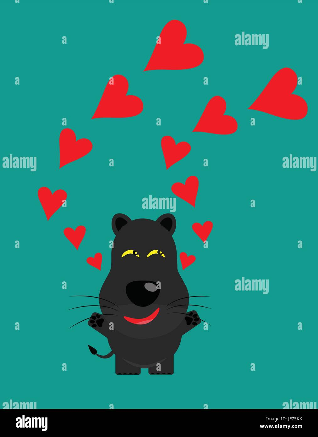 tricky black leopard gartoon character with heart - Stock Image