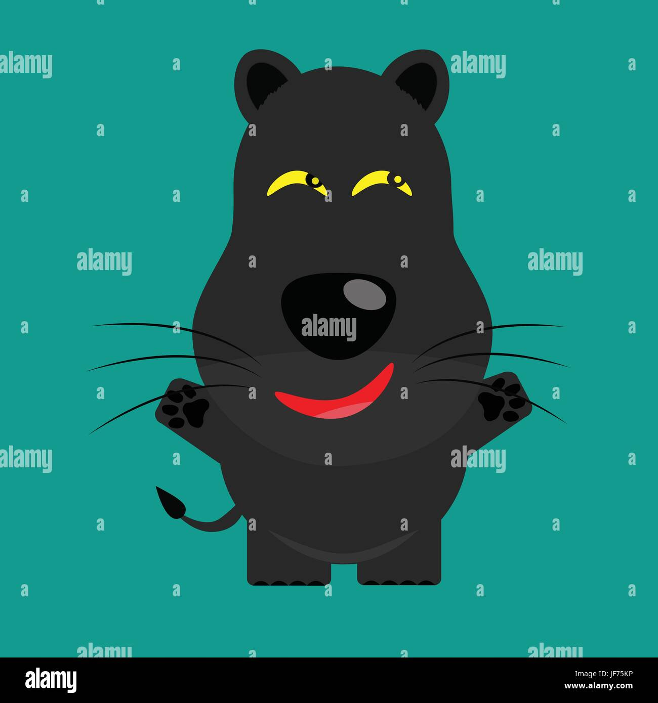 tricky black leopard gartoon character - Stock Image