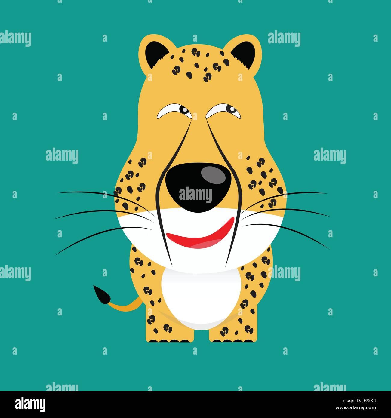 tricky cheetah gartoon character - Stock Image