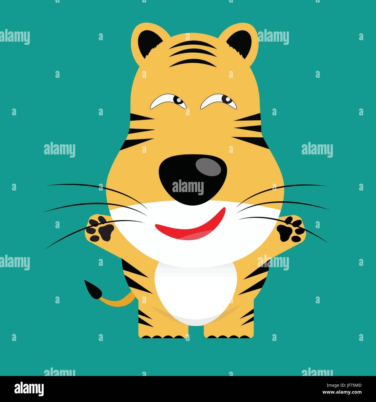 art, isolated, graphic, animal, wild, big cat, feline predator, cat, tiger, - Stock Image