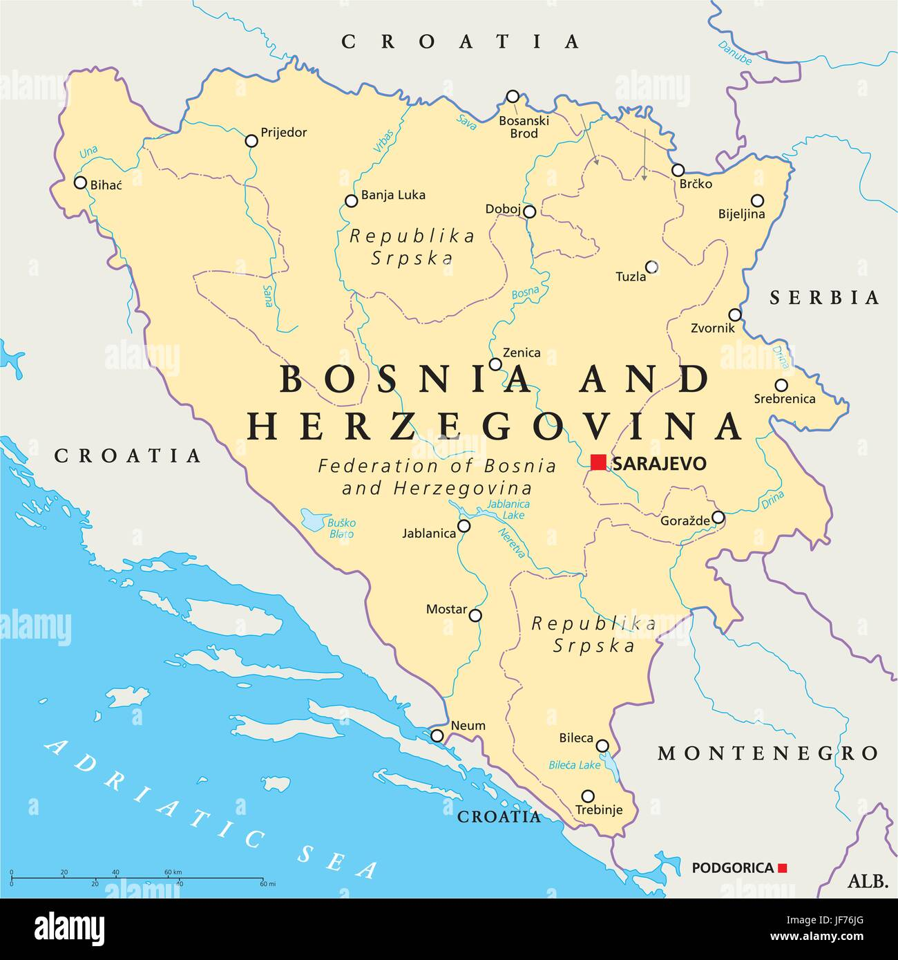 bosnia, map, atlas, map of the world, travel, europe, adriatic sea, croatia, - Stock Image