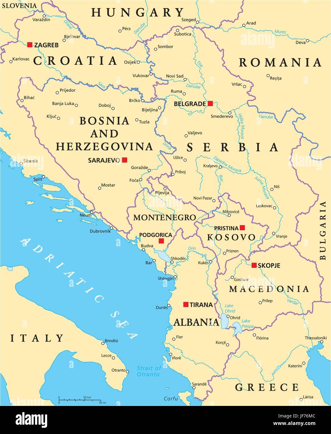 central, kosovo, states, balkans, bosnia, map, atlas, map of the world, serbia, - Stock Vector