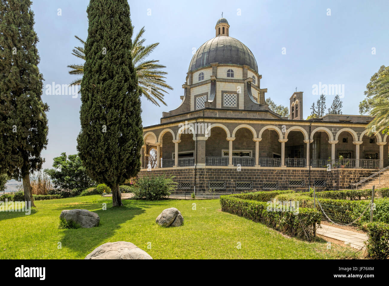 View of Cloister of Beatitudes church, famous location of the Sermon of the Mount, overlooking the Sea of Galilee, - Stock Image