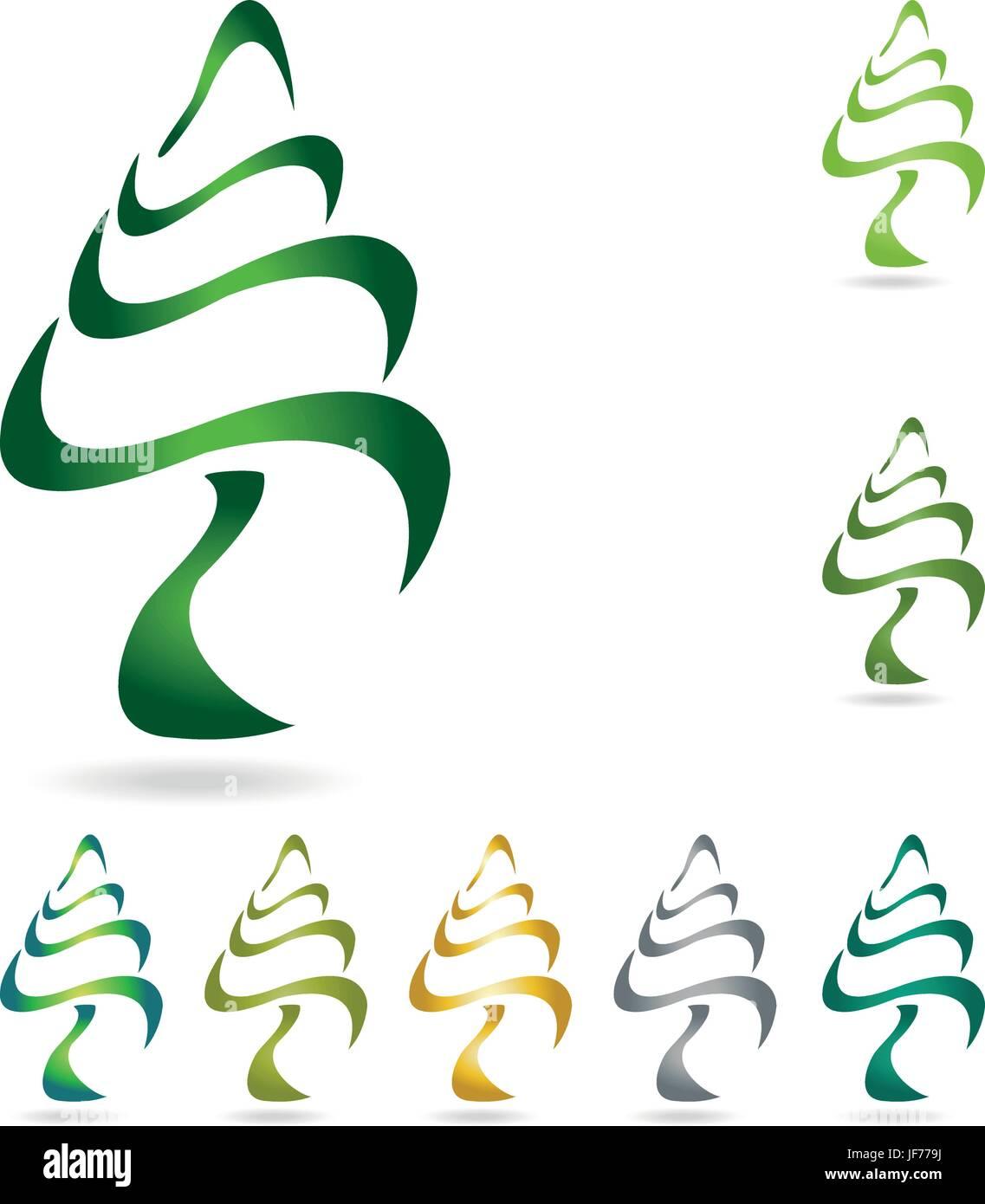 tree, green, fauna, flora, firs, logogram, nature, plants, object, environment, - Stock Vector