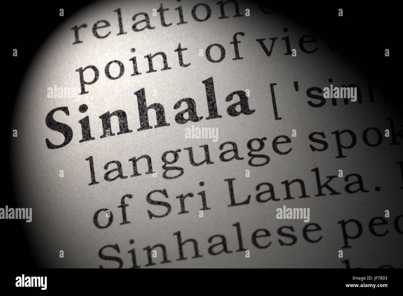 Fake Dictionary, Dictionary definition of the word Sinhala