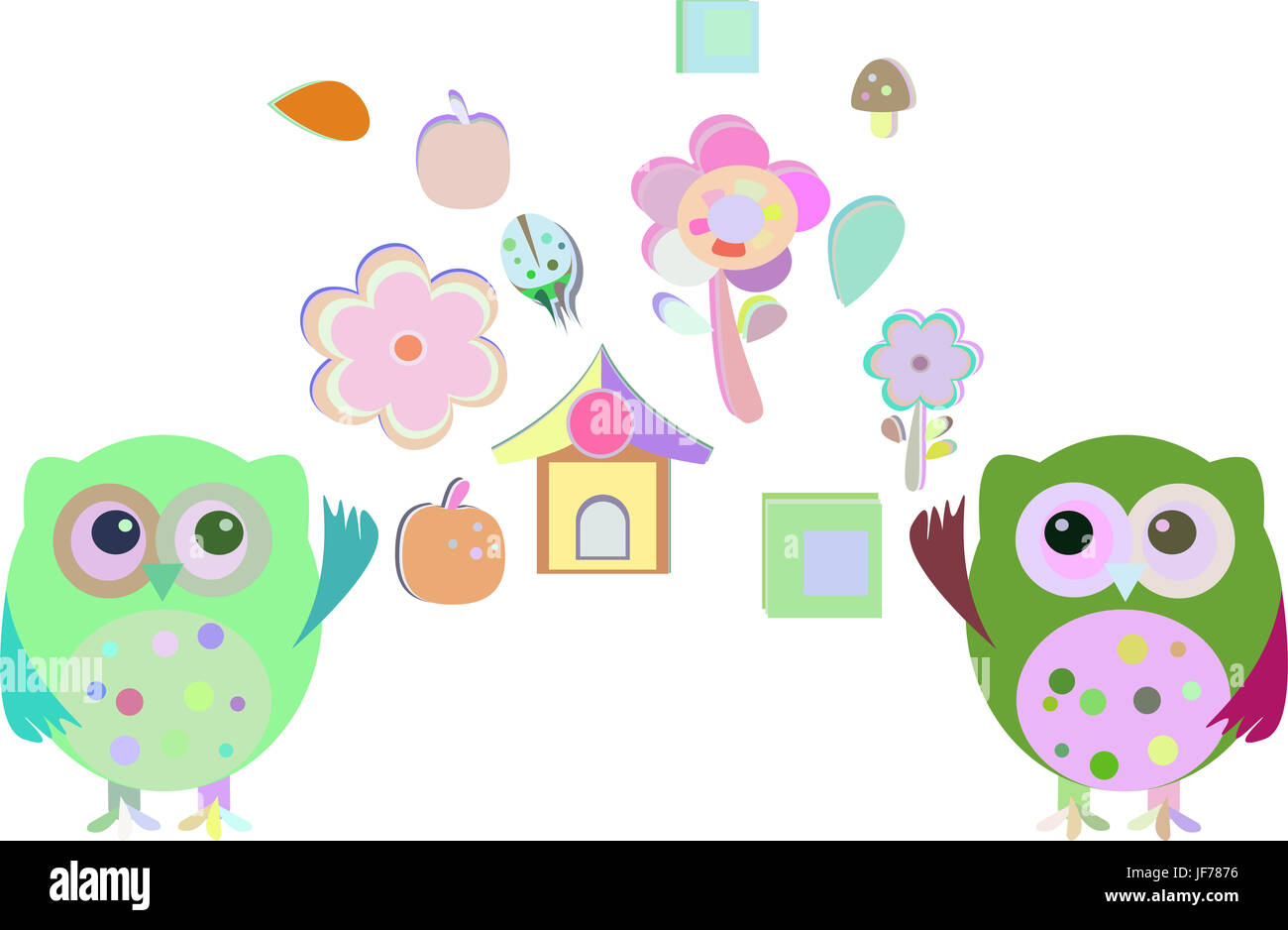 happy new year cute owl set