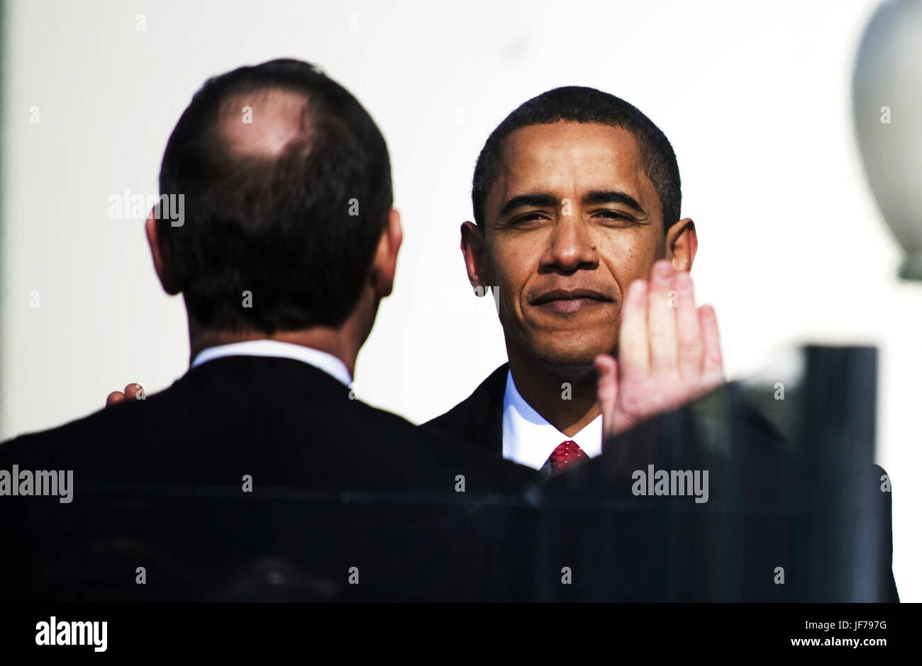 President Barack Obama takes the oath of office in Washington, D.C., Jan. 20, 2009. - Stock Image