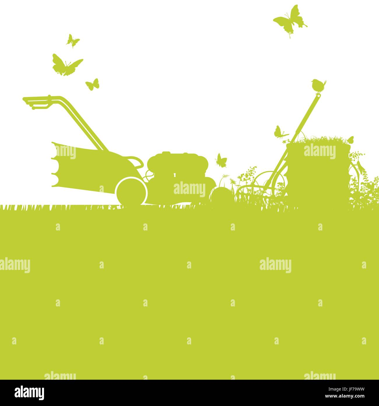 lawn mowers and gardening - Stock Vector
