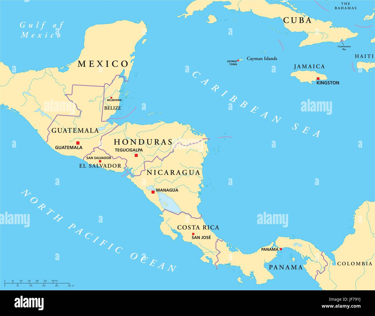 Map Of America And Central America.America Central America Guatemala Central Honduras Map Stock