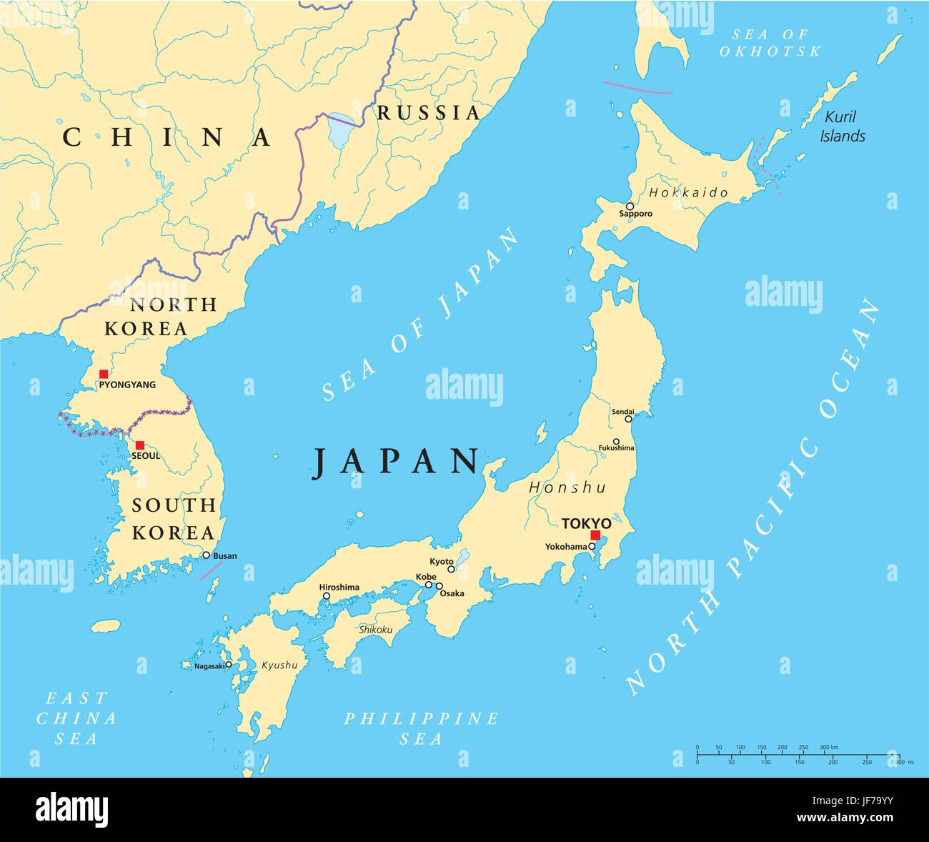 japan, korea, north korea, map, atlas, map of the world, tokyo, illustration, Stock Vector