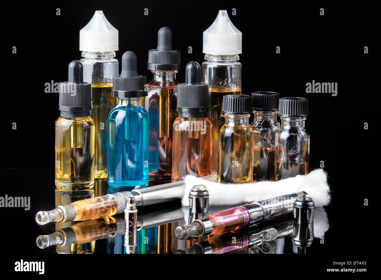 Collection of vape equipment - Stock Image