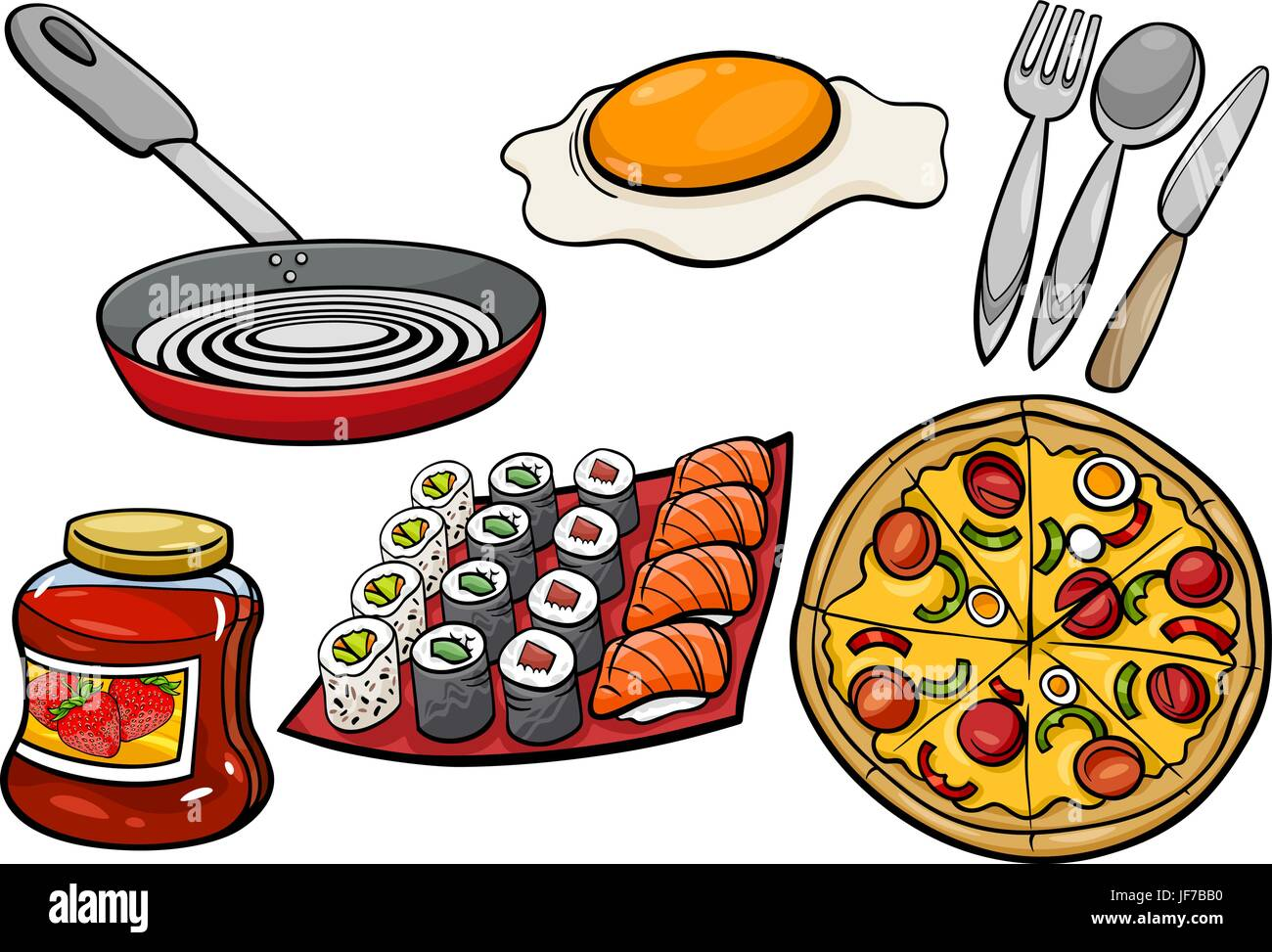 kitchen and food objects cartoon set - Stock Vector