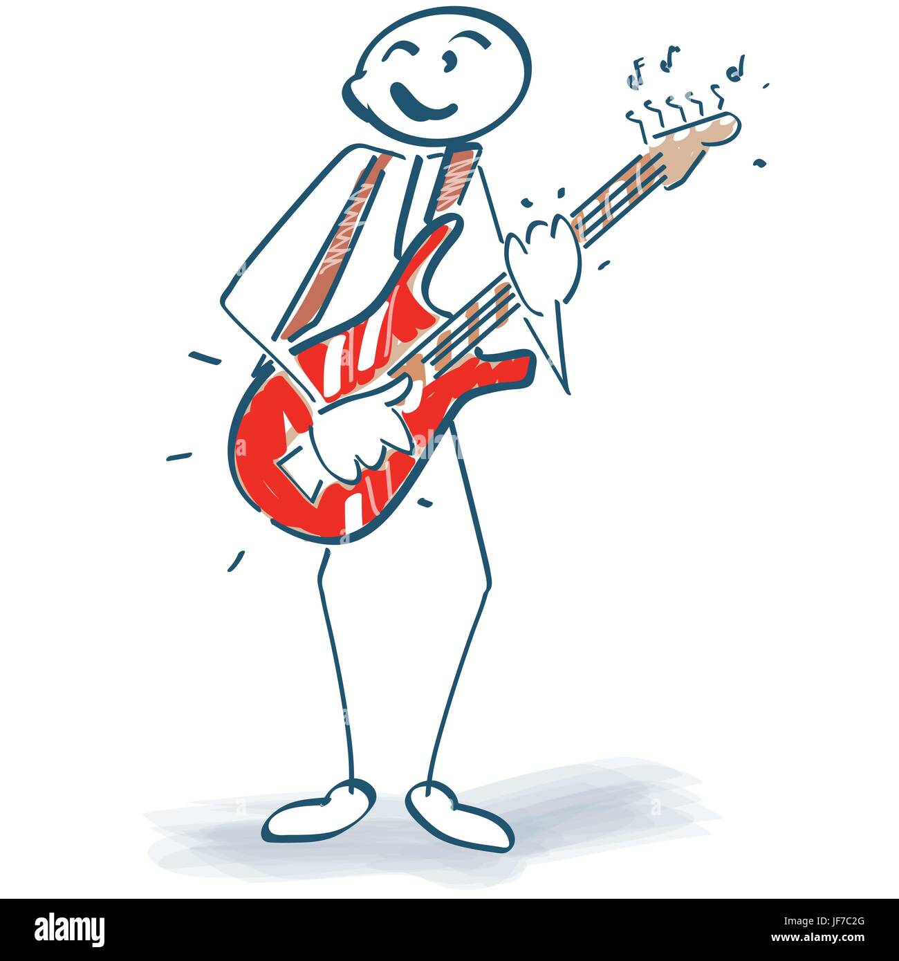 stick figure with guitar - Stock Image