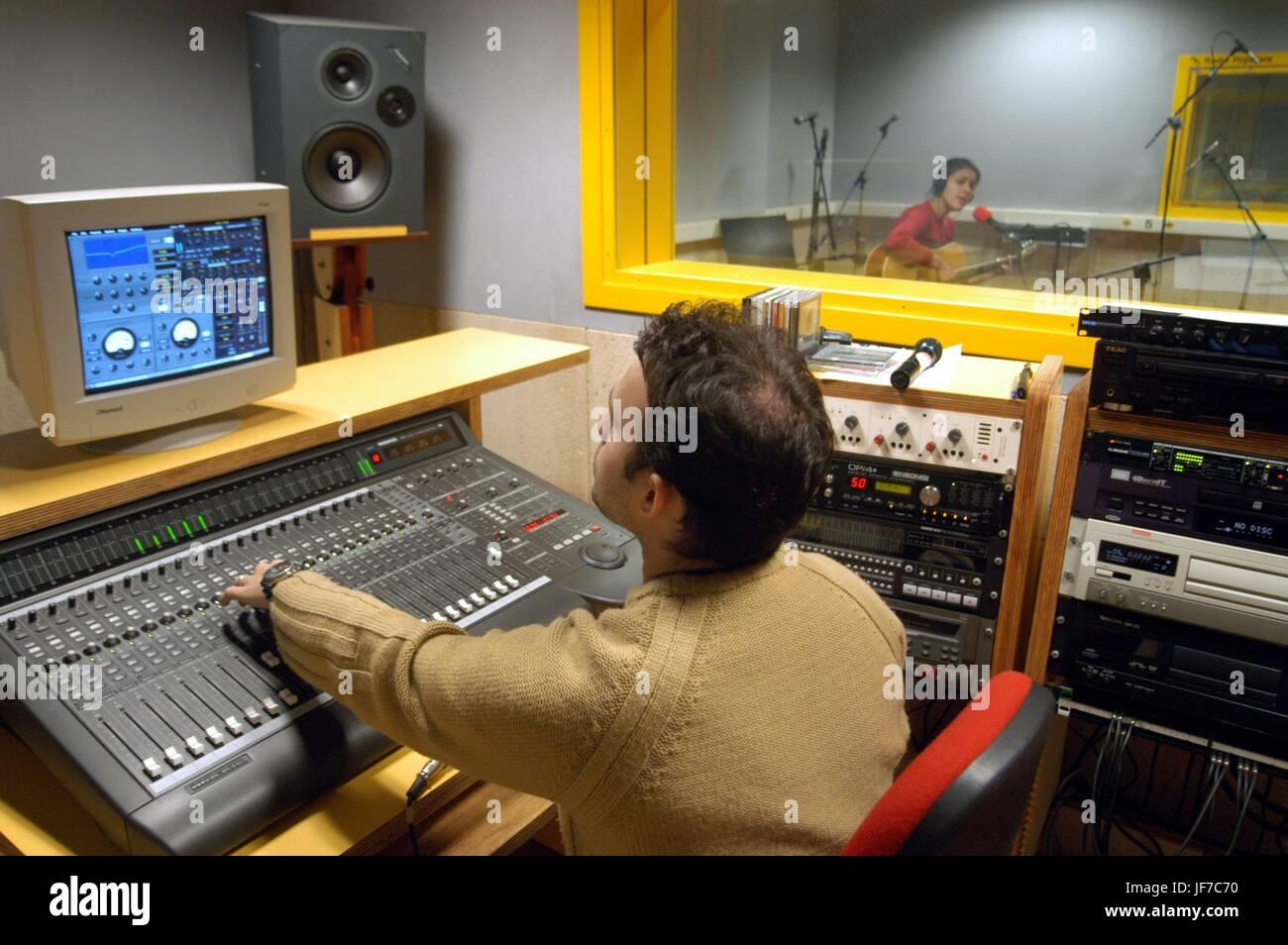 The broadcast studios of Radio Popolare, an independent radio