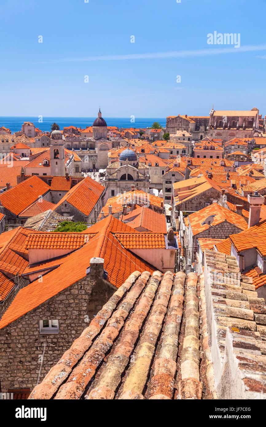 Croatia Dubrovnik Croatia Dalmatian  Dubrovnik old Town Dubrovnik red tiles rooftops old houses blue sky Dubrovnik - Stock Image