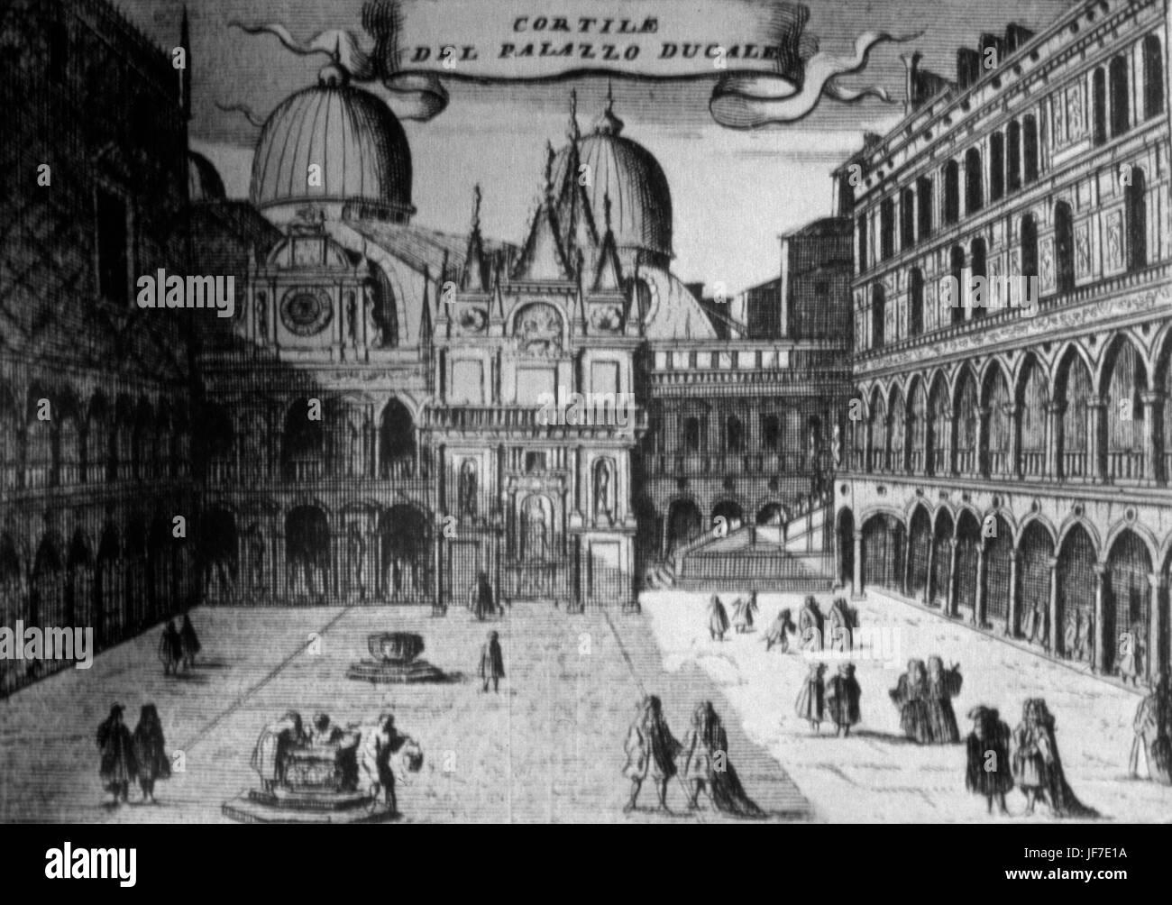 Doge's Palace, Venice. Courtyard of the Doge's Palace,at the time of Vivaldi, Albinoni, Galuppi, Caldara. - Stock Image