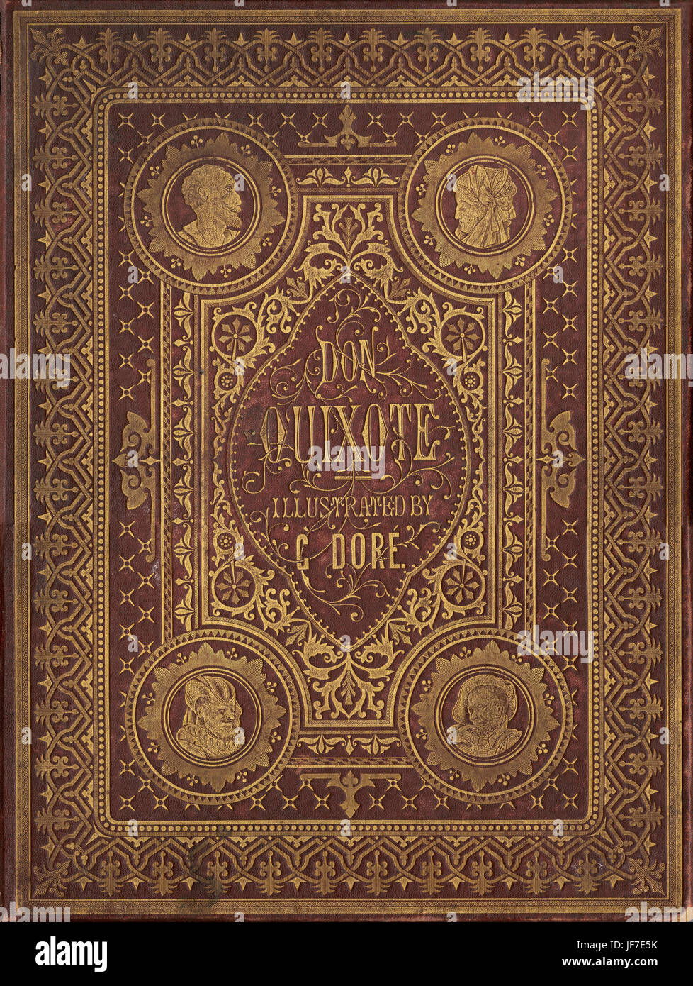 The History of Don Quixote  written by Miguel de Cervantes and illustrated by Gustav Dore 1863.  Book binding Published - Stock Image
