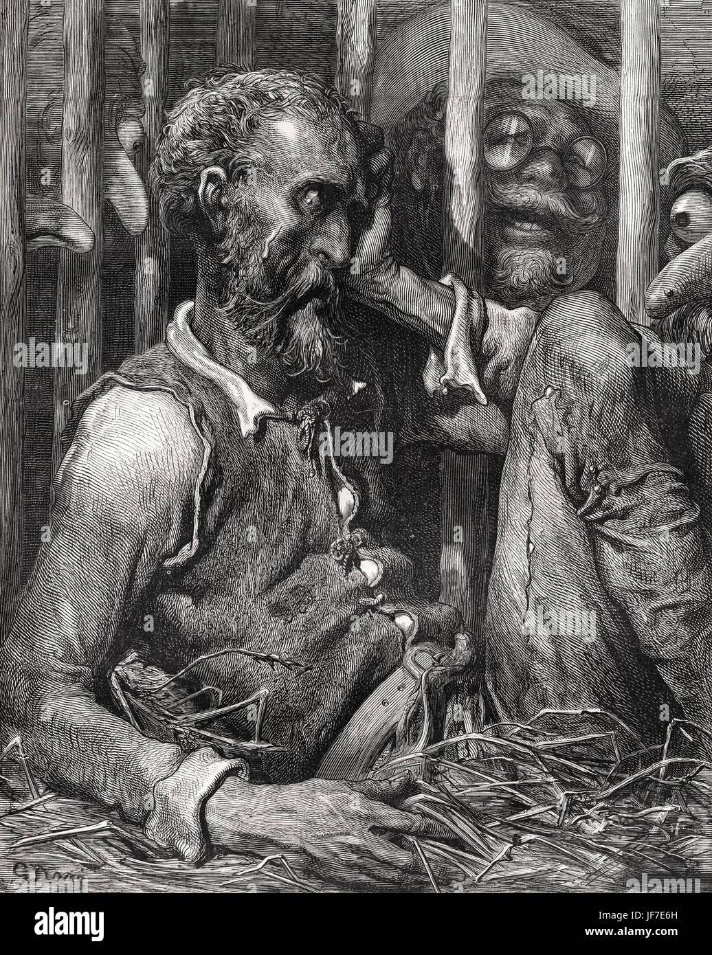 The History of Don Quixote written by Miguel de Cervantes and illustrated by Gustav Dore 1863.   Caption to  The - Stock Image