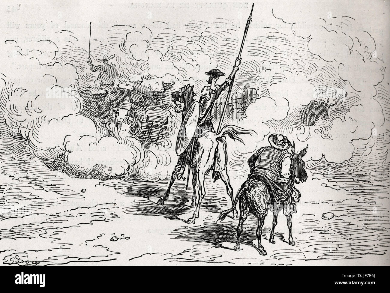 The History of Don Quixote written by Miguel de Cervantes and illustrated by Gustav Dore 1863.  Illustration of - Stock Image