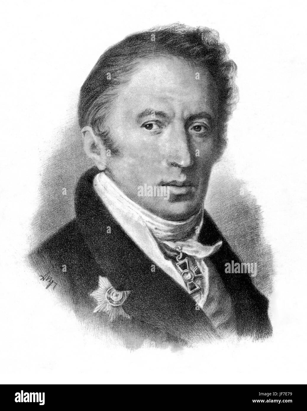 Nikolai Mikhailovich Karamzin - portrait of the Russian author. 1 December 1766 -22 May 1826.  Author of History Stock Photo