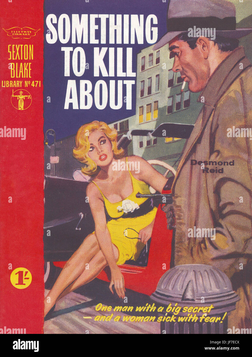 'Something to Kill About,' by Desmond Reid - book cover illustration. Caption reads, 'One man with a - Stock Image