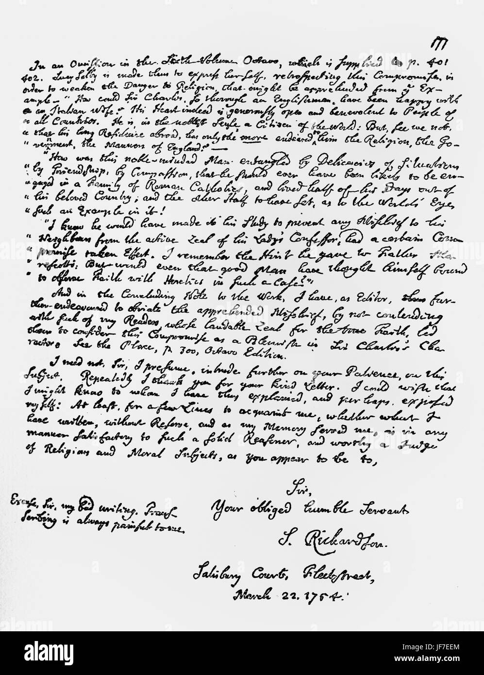 Samuel Richardson's - letter to Dr. Cox Macro in answer to his criticism of 'Sir Charles Grandison'. - Stock Image