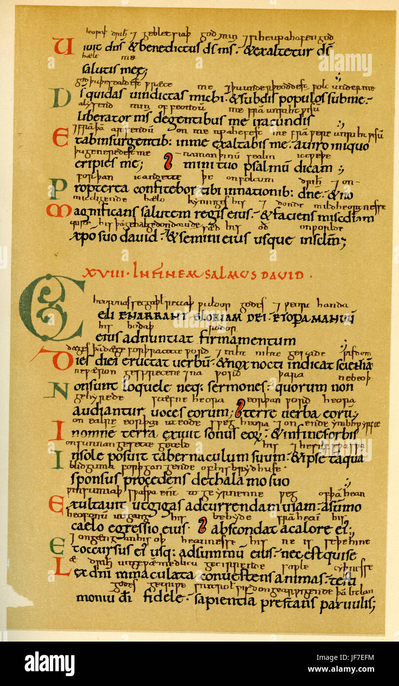 with Anglo- Saxon gloss (margin notes). Carolingian / Caroline miniscule handwriting.  From part one of the 'Arundel' - Stock Image