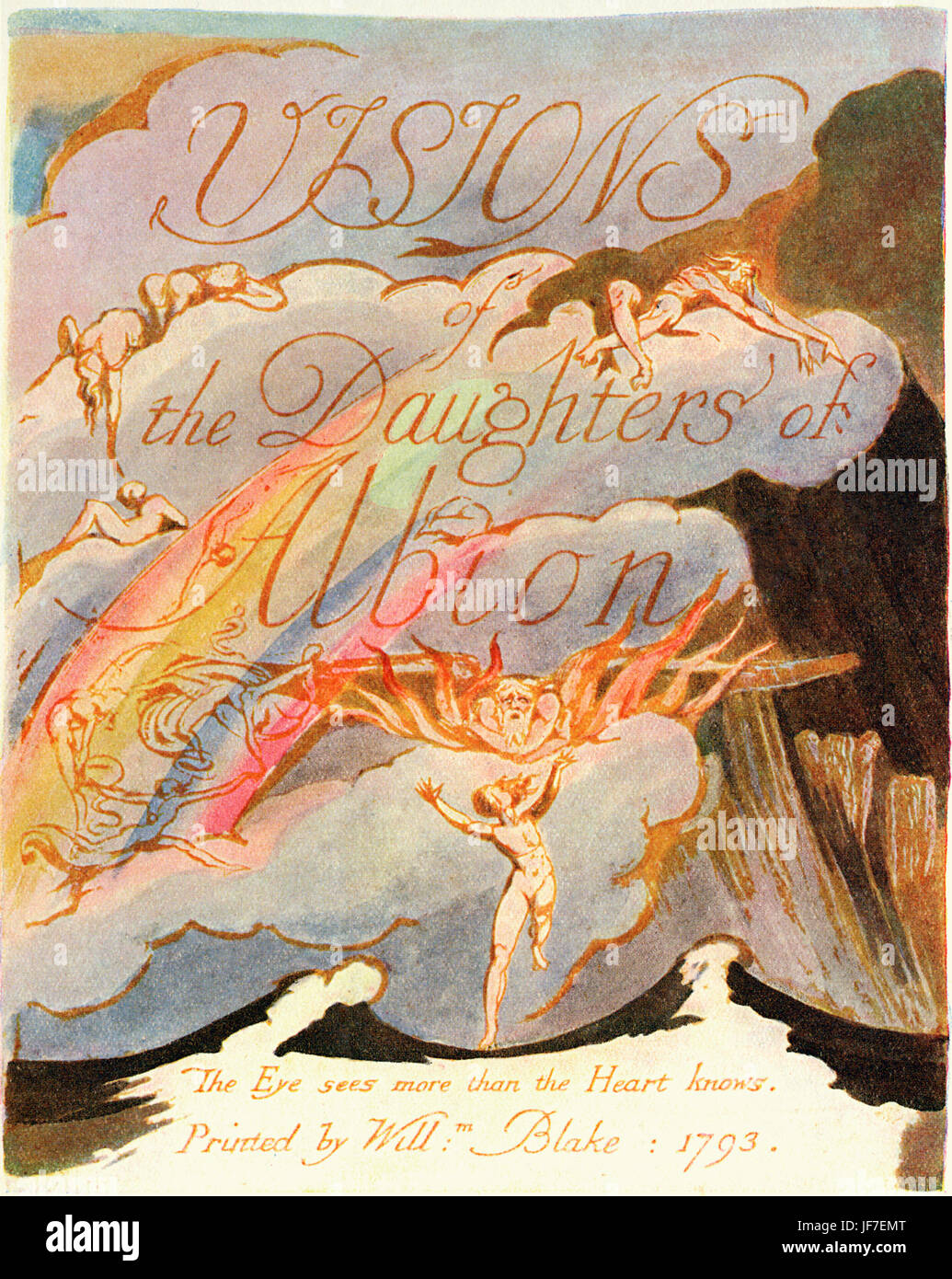 William Blake 's illustration for his poem' Visions of the Daughters of Albion' (1793). Title Page. - Stock Image