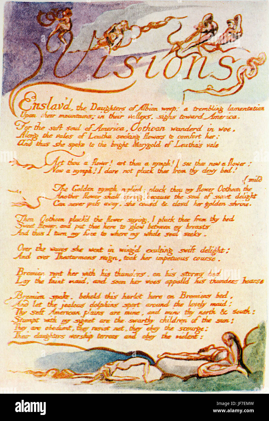 William Blake 's illustration for his poem Visions of the Daughters of Albion (1793). Visions, Opening Verse. - Stock Image