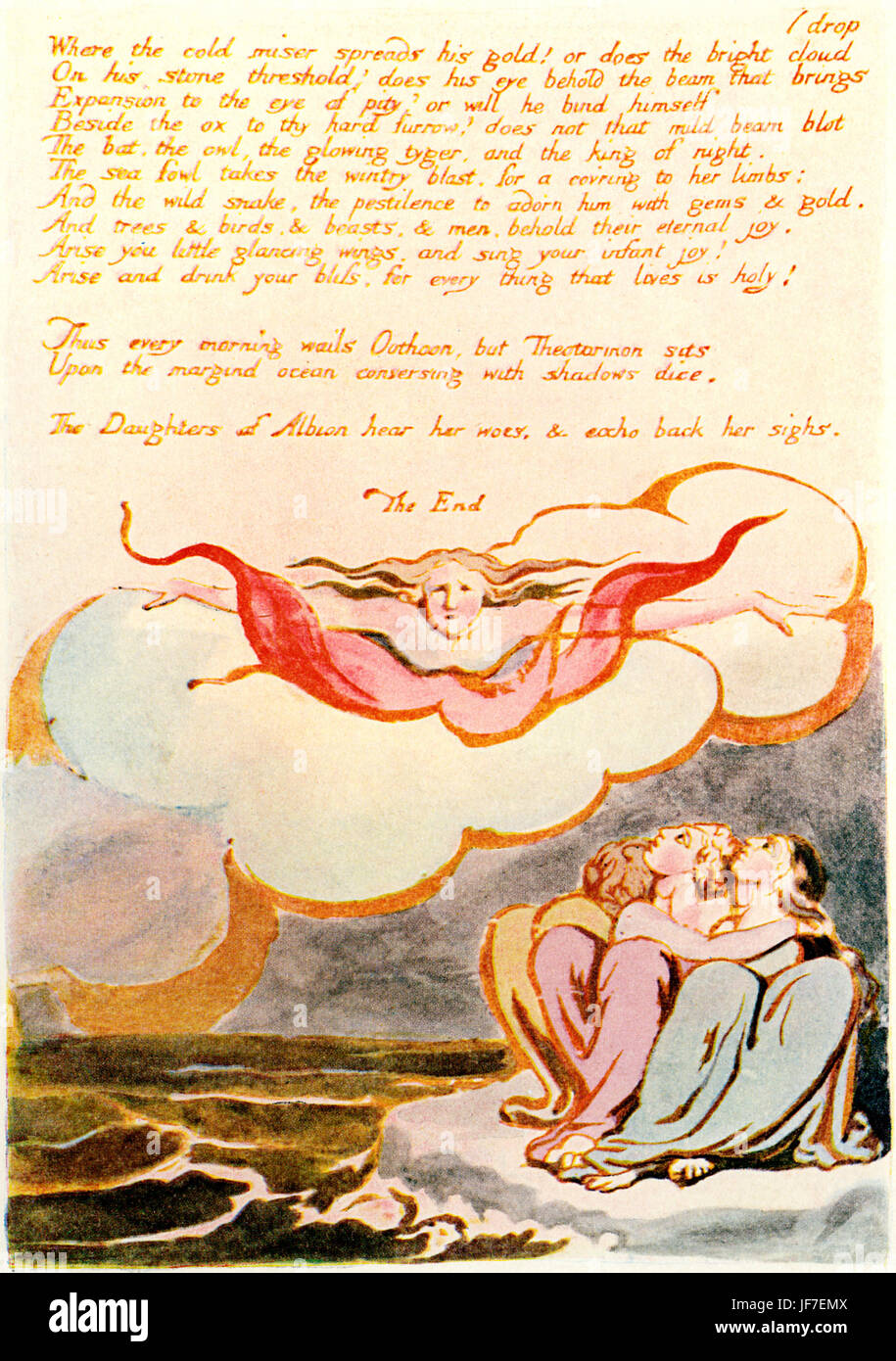 William Blake 's illustration for his poem Visions of the Daughters of Albion (1793). Last Verse. English poet, - Stock Image