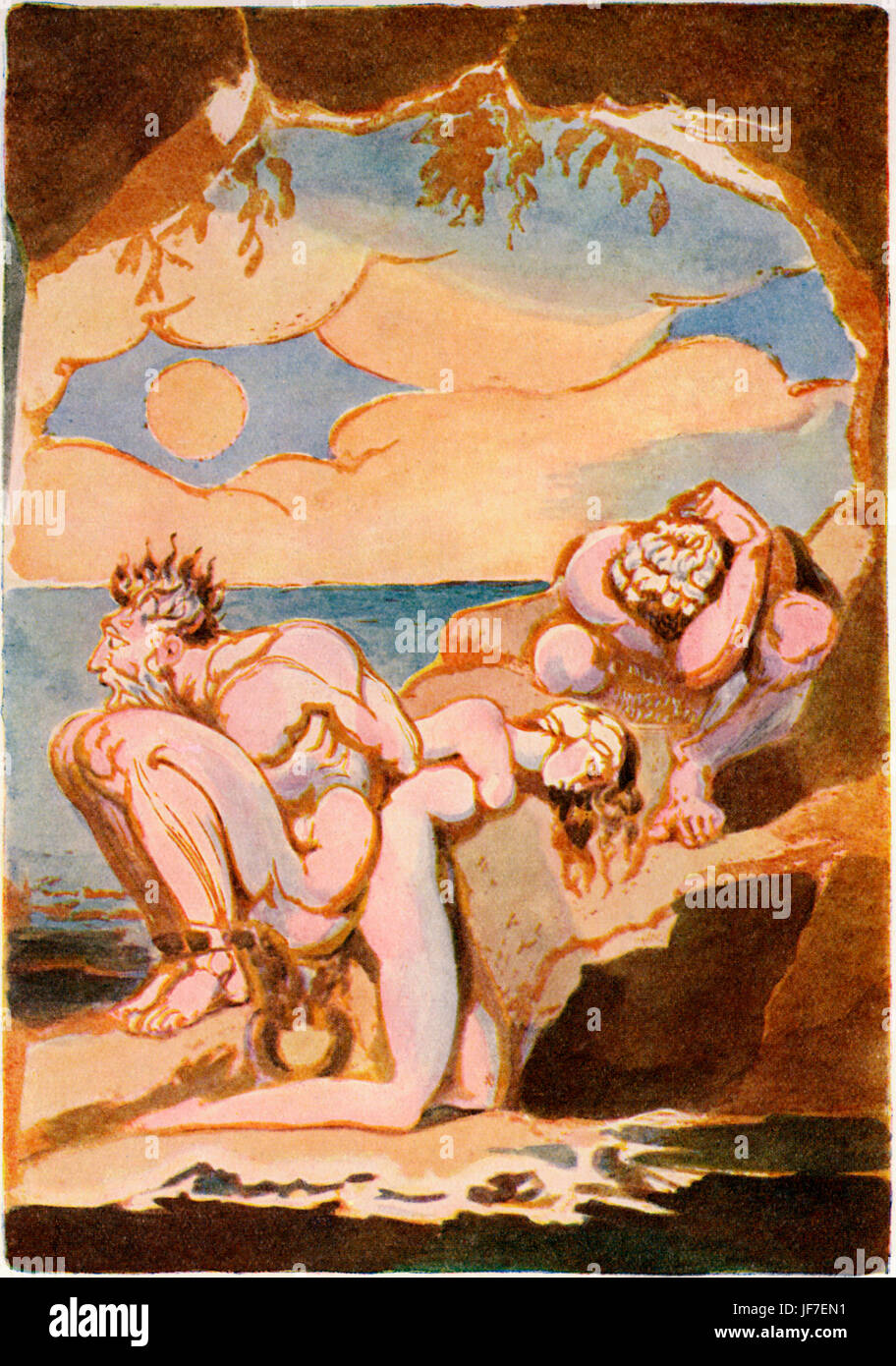 William Blake 's illustration for his poem Visions of the Daughters of Albion (1793). Last Page. Bromion, Oothoon - Stock Image