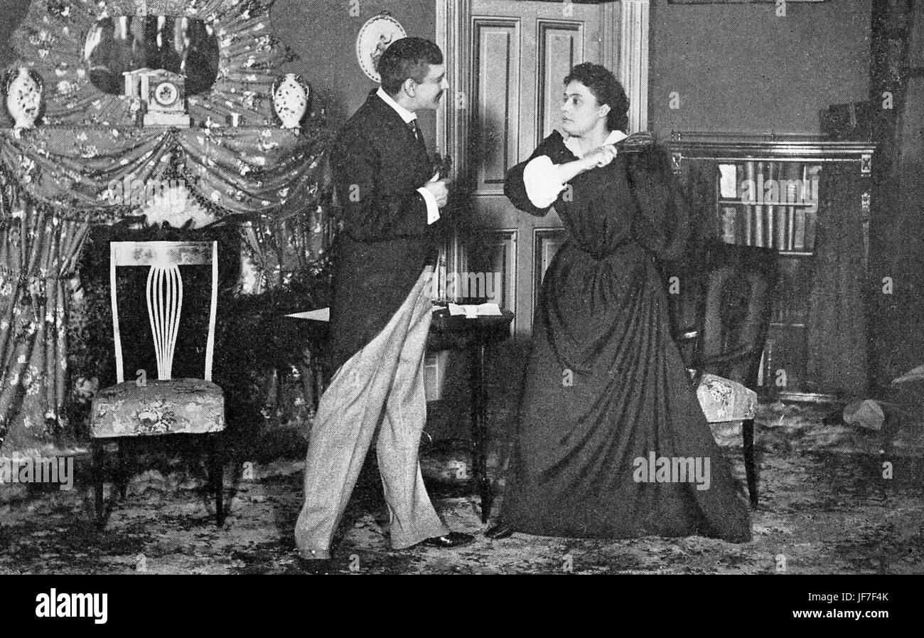 Maurice Barrymore and Rose Coghlan in 'A Woman Of No Importance' by Oscar Wilde in New York production. - Stock Image