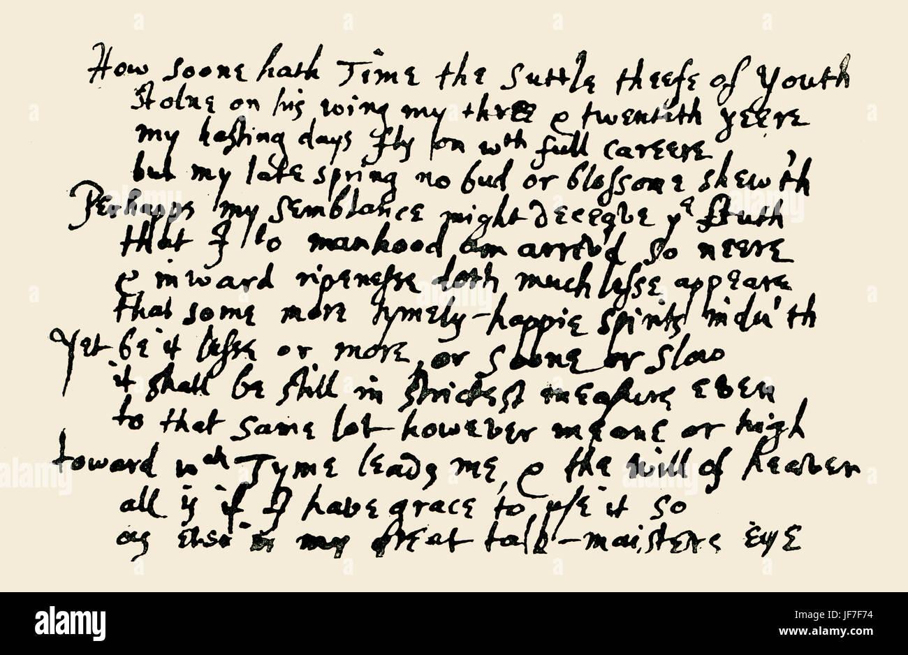 John Milton S Sonnet On Hi Twenty Third Birthday How Soon Hath Stock Photo Alamy Time Paraphrase
