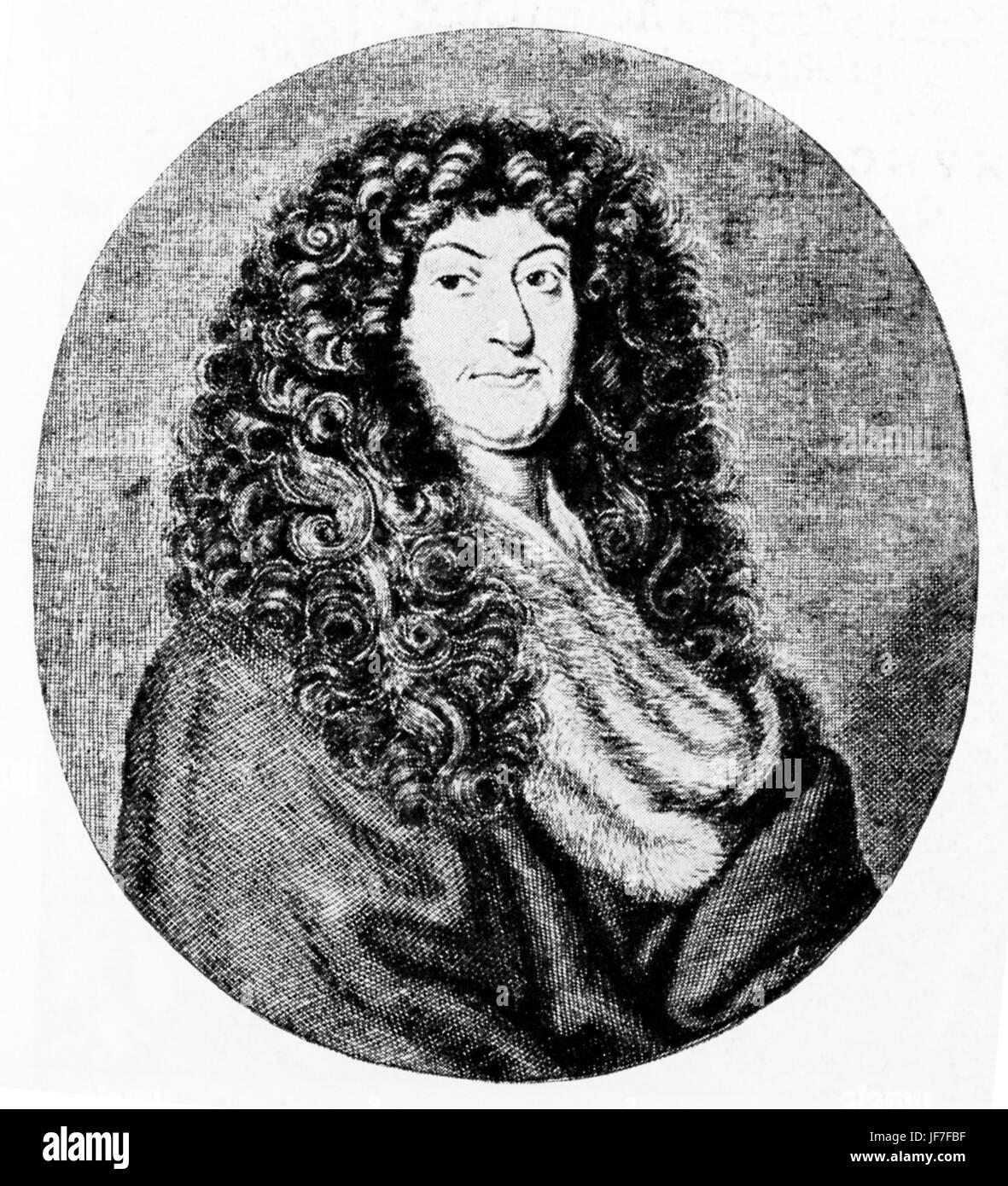 Johann Christoph Wagenseil, author of the book De civitate Noribergensi commentatio (1697). Engraving by Jacob Sandrart, - Stock Image