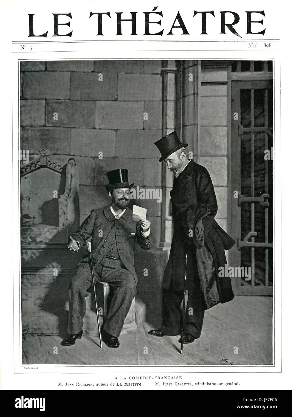 Jean Richepin, playwright, and Jules Claretie, director of the Théâtre Français (1885-1913),  during - Stock Image
