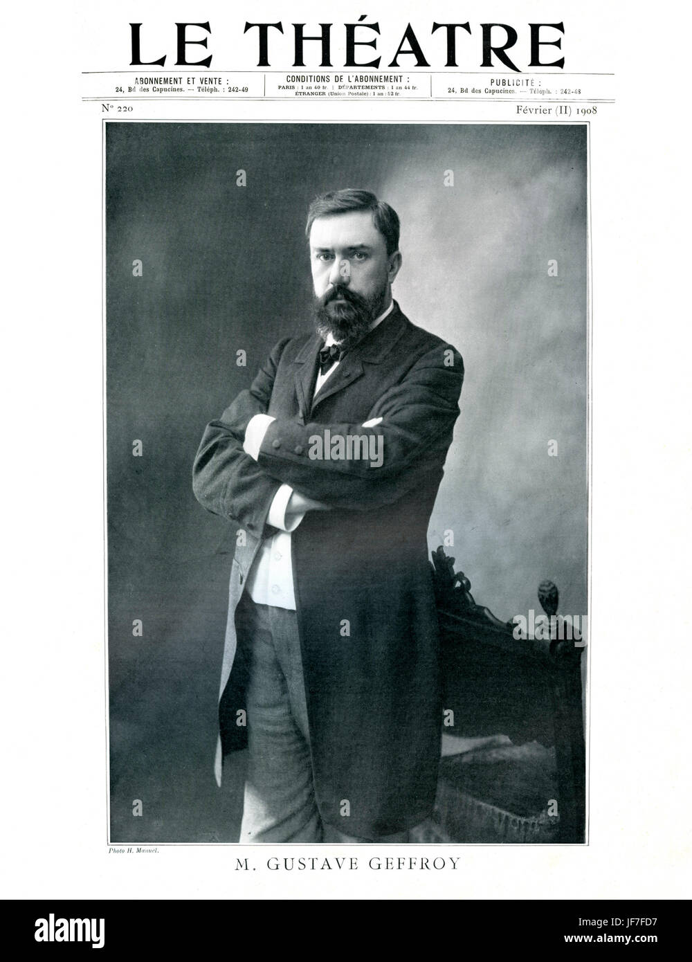 Gustave Geffroy, portrait. Le Theatre,February 1908. French journalist and art critic, one of the ten founding members - Stock Image