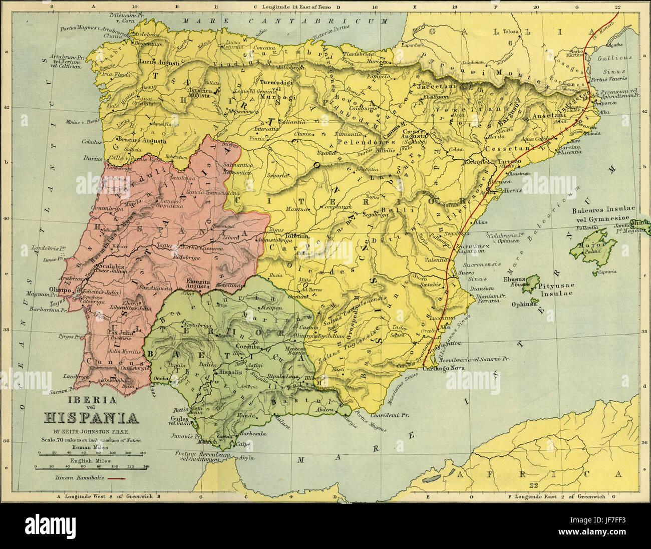 Map of Iberia vel Hispania - the Iberian peninsula as it was in ...
