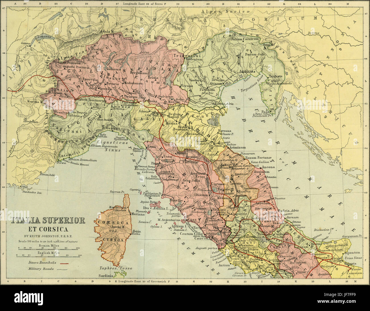 Map of Italia Superior and Corsica - Roman northern Italy and Corsica, showing military roads and the route of Hannibal - Stock Image