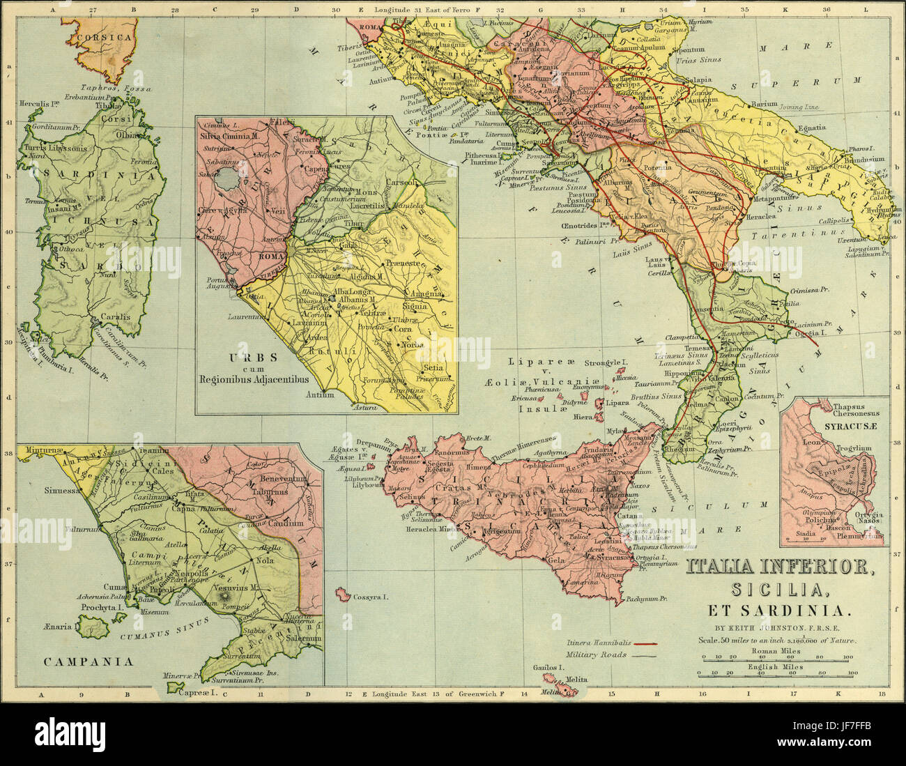 Map of Italia Inferior, Sicilia, Sardinia - southern Italy. Showing magnified views of Campania, Urbs and Syracuse, - Stock Image