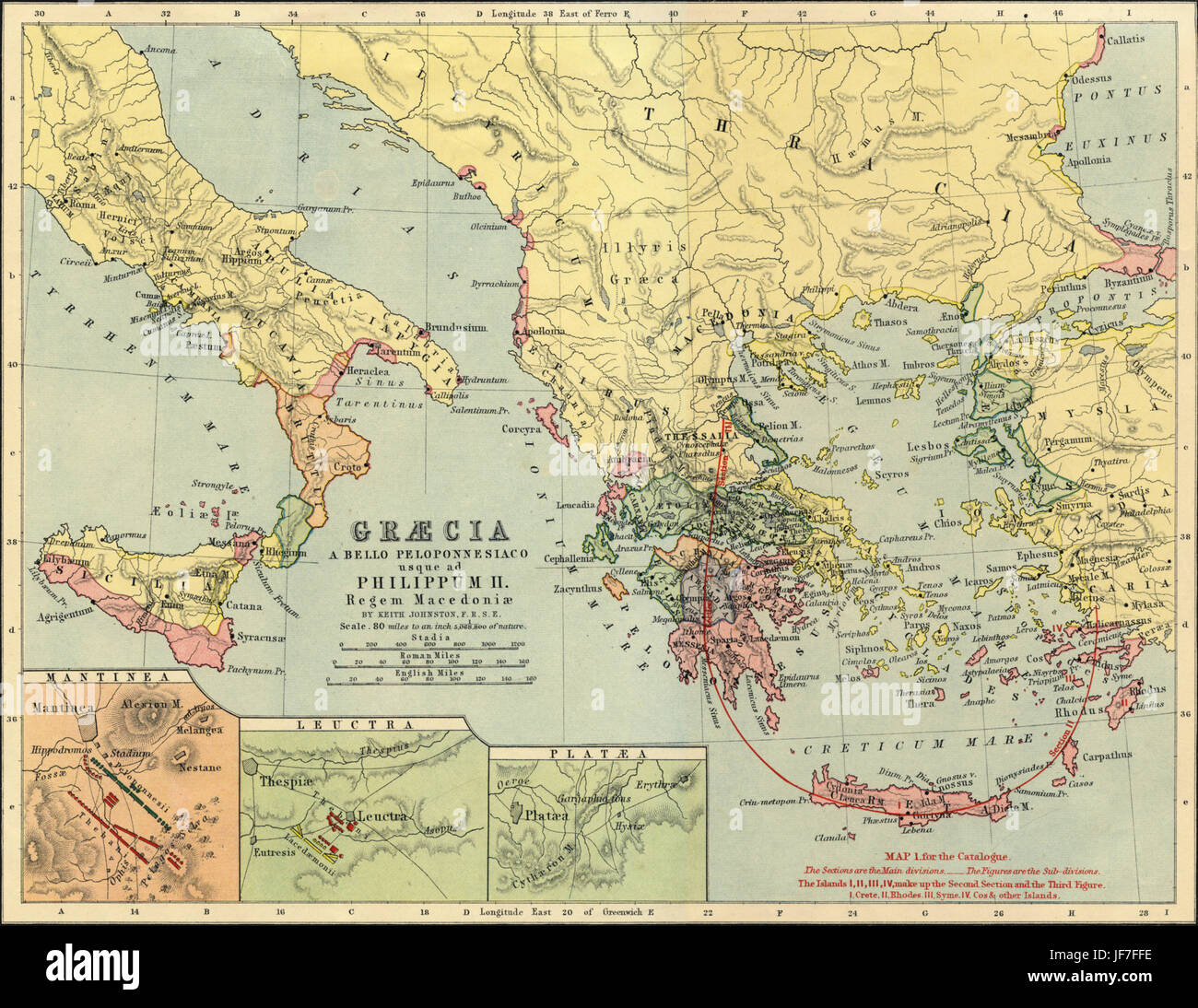Map of Greece, Thrace and Southern Italy as it was in the time of Phillip II of Macedon ( 4th century BC ). Showing - Stock Image