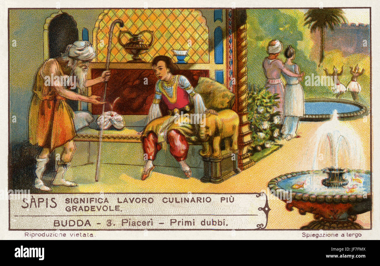 The life of Buddha /  Siddhartha Gautama. Pleasures and first doubts. Liebig collectors' card 1930 - Stock Image